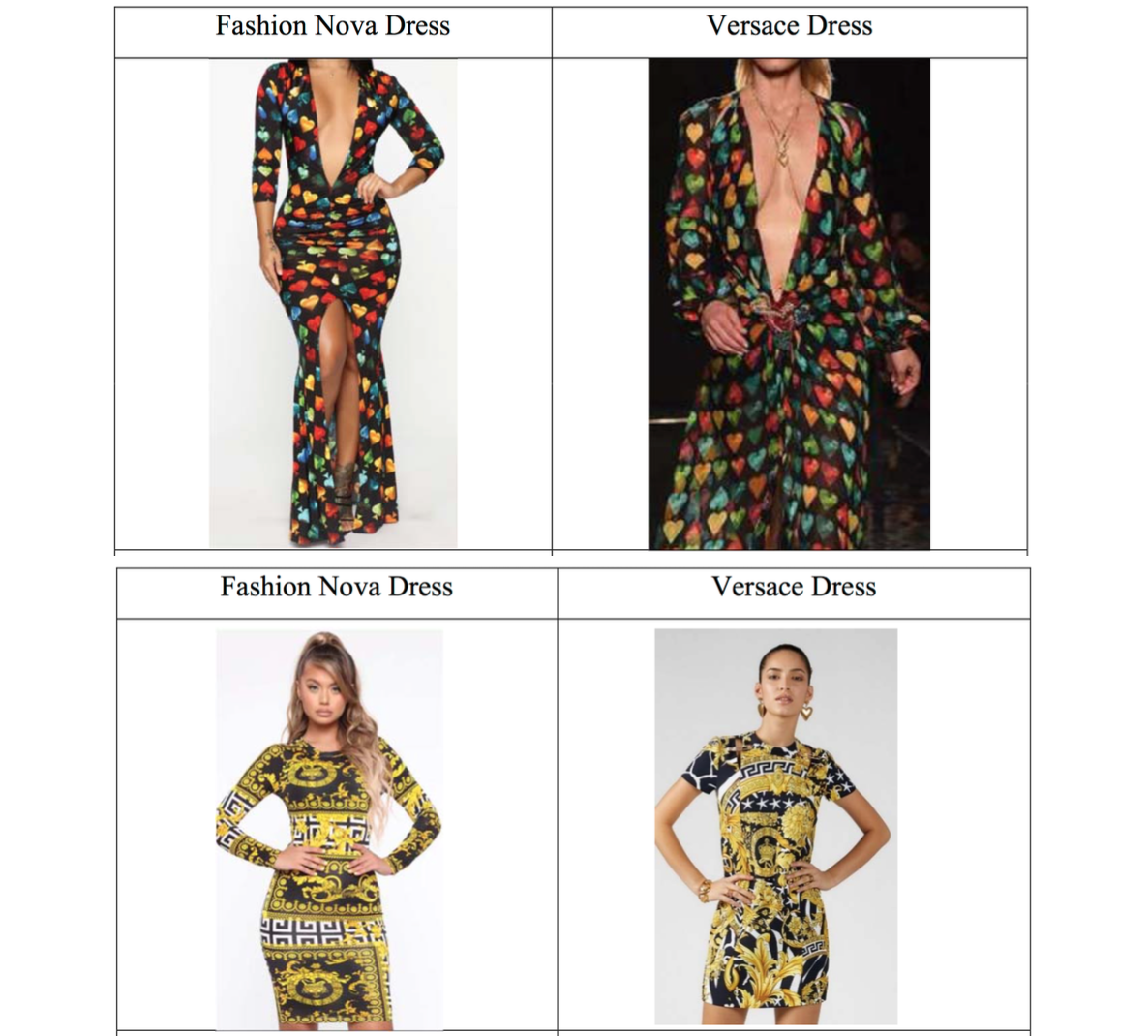 Versace Is Suing Fashion Nova For Brazenly Copying Its Designs Infringing Its Trademarks The Fashion Law