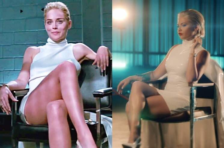 "Stone in Basic Instinct (left) & Dudley in the ""Sharon Stoned"" video"