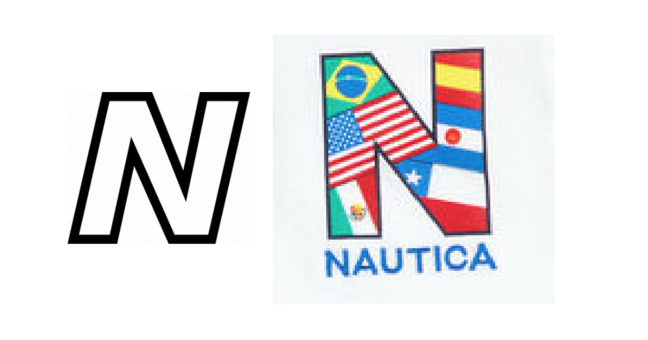 """New Balance's stylized """"N"""" with contrast (left) & Nautica's """"N"""" (right)"""