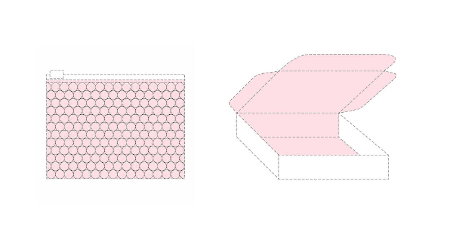 Glossier's bubble wrap pouch (left) & its pink interior box (right)