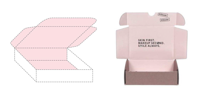 Glossier's pink box trademark drawing (left) & specimen (right)